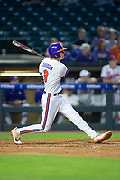 Logan Davidson (8) of the Clemson Tigers connects for a solo home run in the bottom of the fourth inning against the Duke Blue Devils in Game Three of the 2017 ACC Baseball Championship at Louisville Slugger Field on May 23, 2017 in Louisville, Kentucky.  The Blue Devils defeated the Tigers 6-3.. (Brian Westerholt/Four Seam Images)