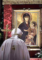 Pope Francis madonna with child painting of  Santa Maria Maggiore on in Rome.during a Corpus Domini procession between the basilicas San Giovanni in Laterano and Santa Maria Maggiore on in Rome.19 june 2014