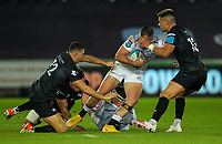 8th October 2021;  Swansea.com Stadium, Swansea, Wales; United Rugby Championship, Ospreys versus Sharks; Marnus Potgieter of Cell C Sharks is tackled by Owen Watkin and Tiaan Thomas-Wheeler of Ospreys