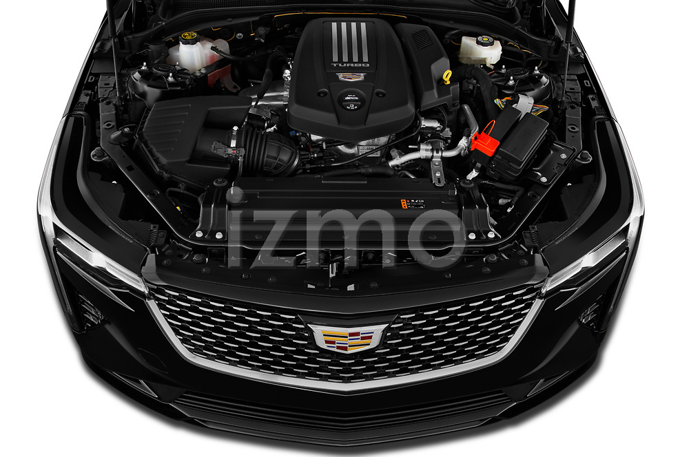 Car Stock 2020 Cadillac CT4 Premium-Luxury 4 Door Sedan Engine  high angle detail view