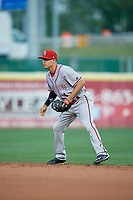 Syracuse Chiefs second baseman Stephen Perez (1) during a game against the Buffalo Bisons on June 30, 2017 at Coca-Cola Field in Buffalo, New York.  Syracuse defeated Buffalo 8-1.  (Mike Janes/Four Seam Images)
