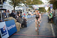 race winner Wout Van Aert (BEL/Vastgoedservice-Golden Palace) overjoyed with this major pro elite win (still only being 20yrs old), beating Sven Nys (BEL/Crelan-AAdrinks) in the sprint<br /> <br /> Koppenbergcross 2014