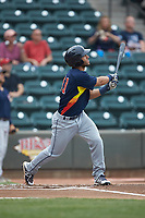 Abraham Toro (31) of the Buies Creek Astros follows through on his swing against the Winston-Salem Dash at BB&T Ballpark on May 5, 2018 in Winston-Salem, North Carolina. The Dash defeated the Astros 6-2. (Brian Westerholt/Four Seam Images)