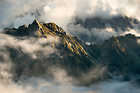 Balfour Range of Southern Alps in swirling clouds, Westland Tai Poutini National Park, West Coast, UNESCO World Heritage Area, New Zealand, NZ
