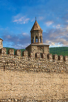 Pictures & images of the medieval the fortified curtain wall of  Ninotsminda Cathedral, 575 AD, Sagarejo, in the Kakheti region, Georgia (country).<br /> <br /> Ninotsminda Cathedral is a highly important Georgian architectural building, which served as a model for the development of the later tetraconch, four-apse design of church.