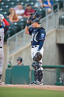 Northwest Arkansas Naturals catcher Nate Esposito (7) waits for the next batter during a Texas League game between the Northwest Arkansas Naturals and the Arkansas Travelers on May 30, 2019 at Arvest Ballpark in Springdale, Arkansas. (Jason Ivester/Four Seam Images)