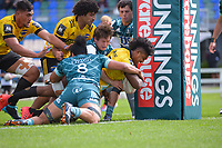 Hurricanes openside flanker Peter Lakai scores during the 2021 Bunnings Super Rugby Aotearoa Under-20 rugby match between the Hurricanes and Highlanders at Owen Delaney Park in Taupo, New Zealand on Tuesday, 14 April 2021. Photo: Dave Lintott / lintottphoto.co.nz