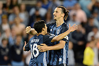 Kansas City, KS - Wednesday May 29, 2019.  Los Angeles Galaxy defeated Sporting Kansas City 2-0 in a Major League Soccer (MLS) game at Children's Mercy Park. Zlatan Ibrahimovic scores and ceebrates.