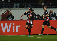 celebrate the goal, Torjubel zum 2:0 Goncalo Paciencia (Eintracht Frankfurt) - 18.12.2019: Eintracht Frankfurt vs. 1. FC Koeln, Commerzbank Arena, 16. Spieltag<br /> DISCLAIMER: DFL regulations prohibit any use of photographs as image sequences and/or quasi-video.