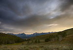 Idaho, South central, Stanley. Sunset over the Sawtooth range as viewed from the Boulder Mountains in summer.