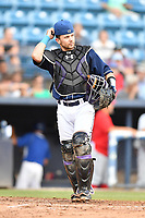 Asheville Tourists catcher Max George (22) during a game against the Lakewood BlueClaws at McCormick Field on August 3, 2019 in Asheville, North Carolina. The BlueClaws defeated the Tourists 10-6. (Tony Farlow/Four Seam Images)