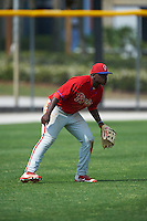 Philadelphia Phillies Cornelius Randolph (2) during a minor league Spring Training game against the Toronto Blue Jays on March 26, 2016 at Englebert Complex in Dunedin, Florida.  (Mike Janes/Four Seam Images)
