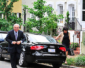 Dominique Strauss-Kahn, the former head of the International Monetary Fund (IMF), returns to his Georgetown home after visiting IMF headquarters in Washington, D.C. on Monday, August 29, 2011..Credit: Ron Sachs / CNP.(RESTRICTION: NO New York or New Jersey Newspapers or newspapers within a 75 mile radius of New York City)