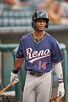 Nick Heath (14) of the Reno Aces during the game against the Salt Lake Bees at Smith's Ballpark on August 24, 2021 in Salt Lake City, Utah. The Aces defeated the Bees 6-5. (Stephen Smith/Four Seam Images)