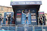 Pavel Sivakov (RUS) Ineos Grenadiers takes over the young riders Maglia Bianca at the end of Stage 2 of Tirreno-Adriatico Eolo 2021, running 202km from Camaiore to Chiusdino, Italy. 11th March 2021. <br /> Photo: LaPresse/Gian Mattia D'Alberto  | Cyclefile<br /> <br /> All photos usage must carry mandatory copyright credit (© Cyclefile | LaPresse/Gian Mattia D'Alberto)