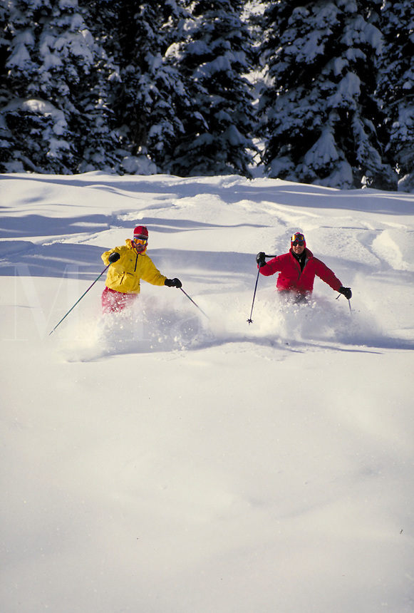 Tom Castrigno (MR27) & Mike Gallagher (MR8) Alpine Skiing in the deep powder, Wasatch Mountains, Solitude Ski Area, near Salt Lake City, UT. Tom Castrigno (MR27) & Mike Gallagher (MR8). Salt Lake City, Utah.