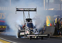 Feb. 22, 2013; Chandler, AZ, USA; NHRA top fuel dragster driver Brittany Force during qualifying for the Arizona Nationals at Firebird International Raceway. Mandatory Credit: Mark J. Rebilas-