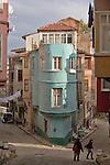 Istanbul, Turkey, steep street scene, Fener neighborhood,