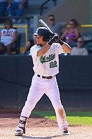 Clinton LumberKings designated hitter Joseph Rosa (22) at bat during a Midwest League game against the Lansing Lugnuts on July 15, 2018 at Ashford University Field in Clinton, Iowa. Clinton defeated Lansing 6-2. (Brad Krause/Four Seam Images)