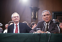 In this file photo from September 9, 1987, Judge William S. Sessions, United States President Ronald Reagan's designee to be director of the Federal Bureau of Investigation (FBI), left, is introduced by US Senator Lloyd Bentsen (Democrat of Texas), right, to the US Senate Committee on the Judiciary before giving testimony on his nomination in Washington, DC on September 9, 1987.  Sessions passed away on June 12, 2020 at the age of 90.<br /> Credit: Howard L. Sachs / CNP/AdMedia
