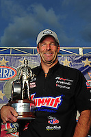 Sept. 5, 2011; Claremont, IN, USA: NHRA pro stock driver Greg Anderson celebrates after winning the US Nationals at Lucas Oil Raceway. Mandatory Credit: Mark J. Rebilas-