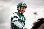 MAR 07: Victor Espinoza and Flagstaff after winning the San Carlos Stakes at Santa Anita Park in Arcadia, California on March 7, 2020. Evers/Eclipse Sportswire/CSM
