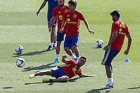 Spanish Koke Resurrecccion David Silva and Diego Costa  during the second training of the concentration of Spanish football team at Ciudad del Futbol de Las Rozas before the qualifying for the Russia world cup in 2017 August 30, 2016. (ALTERPHOTOS/Rodrigo Jimenez) /NORTEPHOTO