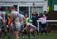 Danny Kenny of London Scottish Football Club during the Greene King IPA Championship match between London Scottish Football Club and Rotherham Titans at Richmond Athletic Ground, Richmond, United Kingdom on 1 January 2017. Photo by Alan  Stanford.