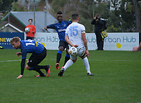 Joao Moreira shoots for goal during the Central League football match between Miramar Rangers and Wellington Olympic AFC at David Farrington Park in Wellington, New Zealand on Saturday, 29 May 2021. Photo: Dave Lintott / lintottphoto.co.nz