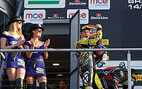 Josh Brookes of Anvil Hire Tag Racing on the podium after he wins the Final of the MCE British Superbikes in Association with Pirelli round 12 2017 - BRANDS HATCH (GP) at Brands Hatch, Longfield, England on 15 October 2017. Photo by Alan  Stanford / PRiME Media Images.