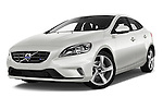 Stock pictures of low aggressive front three quarter view of 2015 Volvo V40 R-Design 5 Door Hatchback Low Aggressive