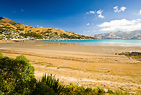 Akaroa township in a distance left from Childrens Bay - Banks Peninsula, Christchurch, New Zealand