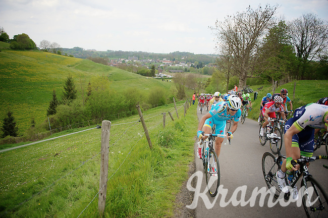 Vincenzo Nibali (ITA/Astana) up the 'steepest climb' in Holland: Keutenberg (max 22%)<br /> <br /> Amstel Gold Race 2014