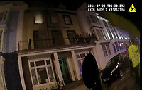 Pictured: Screengrab of a police officer's body camera.<br /> Re: A man who killed a hotel guest after setting fire to his hotel, by lighting curtains and a linen cupboard, is due to be sentenced by Swansea Crown Court.<br /> 31 year old Damion Harris, of Llanbadarn Fawr, west Wales, admitted the manslaughter of Juozas Tunaitis, arson and inflicting grievous bodily harm.<br /> Belgrave House Hotel (Ty Belgrave Hotel) in Aberystwyth, Ceredigion was burned down in July 2018