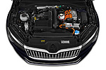 Car Stock 2020 Skoda Superb-Combi-iV Style 5 Door Wagon Engine  high angle detail view