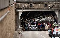 """coming out of the """"Rabbit Hole' at the race start in Antwerpen<br /> <br /> 105th Ronde van Vlaanderen 2021 (MEN1.UWT)<br /> <br /> 1 day race from Antwerp to Oudenaarde (BEL/264km) <br /> <br /> ©kramon"""