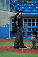Home plate umpire Brett Stowe makes a strike call during the during the Atlantic Coast Prospect Showcase hosted by Perfect Game at Truist Point on August 22, 2020 in High Point, NC. (Brian Westerholt/Four Seam Images)