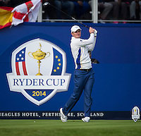 27.09.2014. Gleneagles, Auchterarder, Perthshire, Scotland.  The Ryder Cup.  Justin Rose (EUR) on the 1st Tee.  Saturday Foursooms.