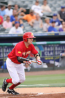 Gabriel Suarez of Team Spain decides to bunt during a game against Team Israel during the World Baseball Classic preliminary round at Roger Dean Stadium on September 21, 2012 in Jupiter, Florida. Team Israel defeated Team Spain 4-2. (Stacy Jo Grant/Four Seam Images)