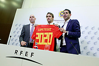 The coach of the national soccer team of Spain, Julen Lopetegui (c) with RFEF's President Luis Rubiales (l) and the General Manager Fernando Hierro, during the signing of the renewal of his contract until 2020. May 22,2018. (ALTERPHOTOS/Acero) /NortePhoto.com