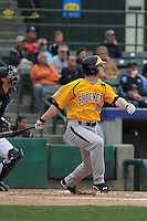 Wichita State Shockers infielder Chase Simpson #41 at bat during a game against the Coastal Carolina Chanticleers at Ticketreturn.com Field at Pelicans Ballpark on February 23, 2014 in Myrtle Beach, South Carolina. Wichita State defeated Coastal Carolina by the score of 5-2. (Robert Gurganus/Four Seam Images)