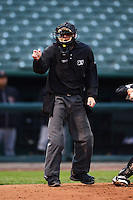 Umpire Nick Garvey during a game between the Peoria Chiefs and Wisconsin Timber Rattlers on May 25, 2013 at Dozer Park in Peoria, Illinois.  Peoria defeated Wisconsin 6-0.  (Mike Janes/Four Seam Images)