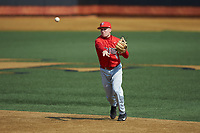 Radford Highlanders second baseman Kyle Butler (9) makes a throw to first base against the Quinnipiac Bobcats at David F. Couch Ballpark on March 4, 2017 in Winston-Salem, North Carolina. The Highlanders defeated the Bobcats 4-0. (Brian Westerholt/Four Seam Images)