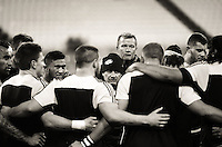 Hurricanes coach Chris Boyd addresses his team before the Super Rugby quarterfinal match between the Hurricanes and Sharks at Westpac Stadium, Wellington, New Zealand on Saturday, 23 July 2016. Photo: Dave Lintott / lintottphoto.co.nz