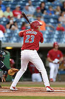 Clearwater Threshers outfielder Dylan Cozens (23) at bat during a game against the Tampa Yankees on April 21, 2015 at Bright House Field in Clearwater, Florida.  Clearwater defeated Tampa 3-0.  (Mike Janes/Four Seam Images)