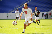Nick DeLeon (14) of the Louisville Cardinals. The Louisville Cardinals defeated the Providence Friars 3-2 in penalty kicks after playing to a 1-1 tie during the finals of the Big East Men's Soccer Championship at Red Bull Arena in Harrison, NJ, on November 14, 2010.