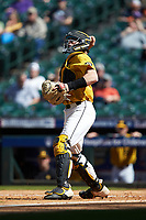 Missouri Tigers catcher Chad McDaniel (20) makes a throw to third base following a strike out during the game against the Oklahoma Sooners in game four of the 2020 Shriners Hospitals for Children College Classic at Minute Maid Park on February 29, 2020 in Houston, Texas. The Tigers defeated the Sooners 8-7. (Brian Westerholt/Four Seam Images)