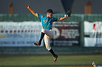 Mooresville Spinners second baseman Justin Fox (2) (Erskine College) can't handle a high throw during the game against the Lake Norman Copperheads at Moor Park on July 6, 2020 in Mooresville, NC.  The Spinners defeated the Copperheads 3-2. (Brian Westerholt/Four Seam Images)