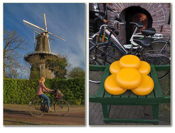 Netherlands, Leiden.  Icons Improve Your Story-telling.<br /> (Left photo) Windmills 'say' Holland, so does a cyclist. Compose a nice photo of the windmill, then wait for a cyclist to ride by. <br /> (Right photo) When you have soft, diffuse light (no shadows), try photographing intimate subjects or still-lifes. More icons: cheese and bicycles in Gouda, Netherlands.