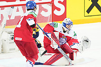 29th May 2021; Olympic Sports Centre, Riga, Latvia; IIHF World Championship Ice Hockey, Czech Republic versus Great Britain;  goalkeeper Roman Will Czech Republic makes a glove save